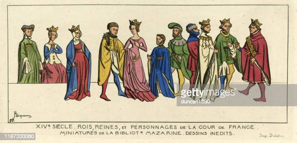 french kings, queens and nobles, medieval costumes, 14th century - circa 14th century stock illustrations