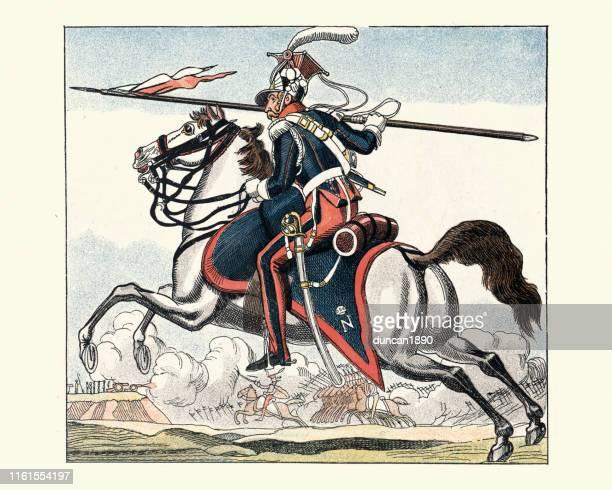 illustrations, cliparts, dessins animés et icônes de français cavalerie légère, 2e régiment de lancers, guerres napoléoniennes - lance