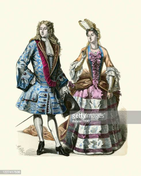 french lord and lady, louis xiv of france, history fashion - en búsqueda stock illustrations