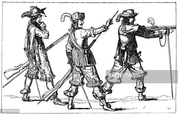 french musketeers under louis xiv - louis xiv of france stock illustrations, clip art, cartoons, & icons