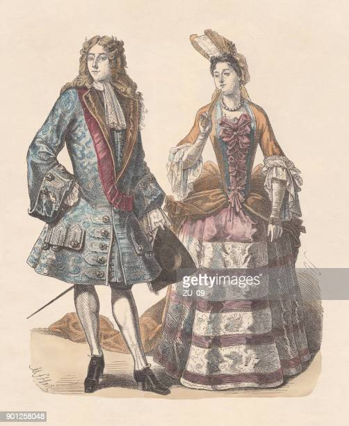 french nobility, early 18th century, hand-colored wood engraving, published c.1880 - louis xiv of france stock illustrations, clip art, cartoons, & icons