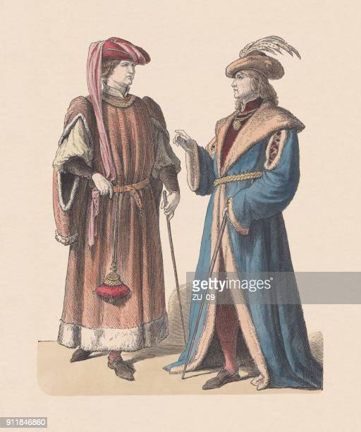 French noblemen, 15th century, hand-colored wood engraving, published c. 1880