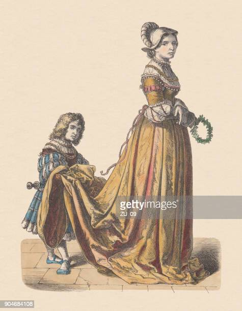 french noblewoman and page, 16th century, hand-colored woodcut, published c.1880 - 16th century style stock illustrations, clip art, cartoons, & icons