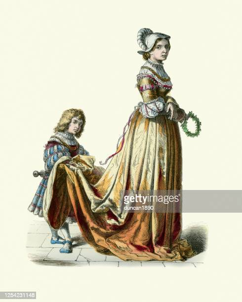 french noblewoman, page boy, history fashion, period costumes, 16th century - french culture stock illustrations