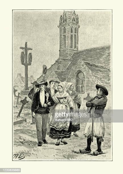 ilustrações, clipart, desenhos animados e ícones de franceses em vestido traditonal deixando a igreja, século 19 - sunday best