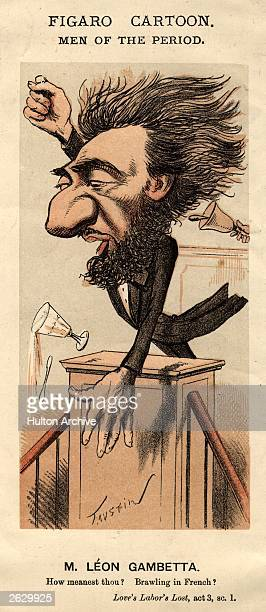 French politician Leon Gambetta who for five months was dictator of France and prime minister Original Artwork Figaro Cartoon Men Of The Period by...