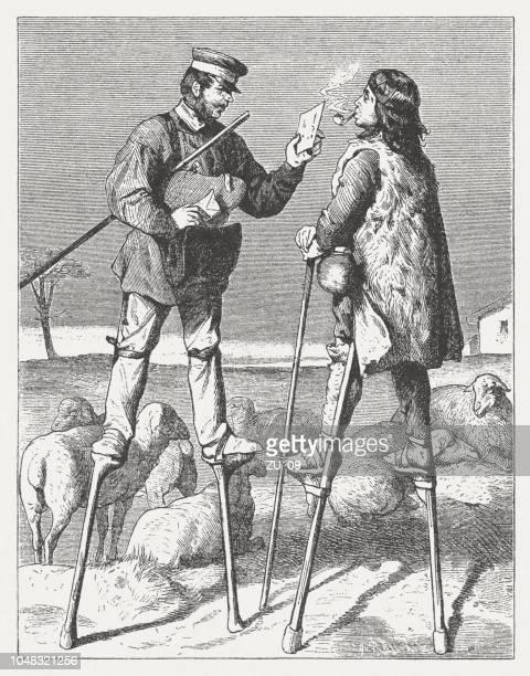 illustrations, cliparts, dessins animés et icônes de postier français et un berger, gravure sur bois, publié en 1885 - facteur