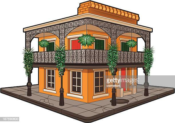 french quarter corner building - new orleans stock illustrations, clip art, cartoons, & icons