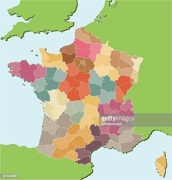 french regional map. - france stock illustrations