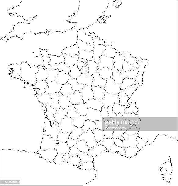 french regional map-line version. - auvergne rhône alpes stock illustrations, clip art, cartoons, & icons