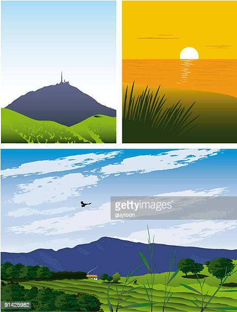 french regions - auvergne rhône alpes stock illustrations, clip art, cartoons, & icons