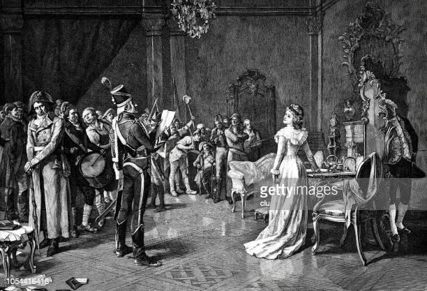 stockillustraties, clipart, cartoons en iconen met franse revolutie - verbod van de koninklijke familie - koning koninklijk persoon