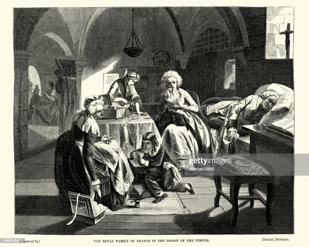 French revolution - Royal Family in Prison : Stock Illustration
