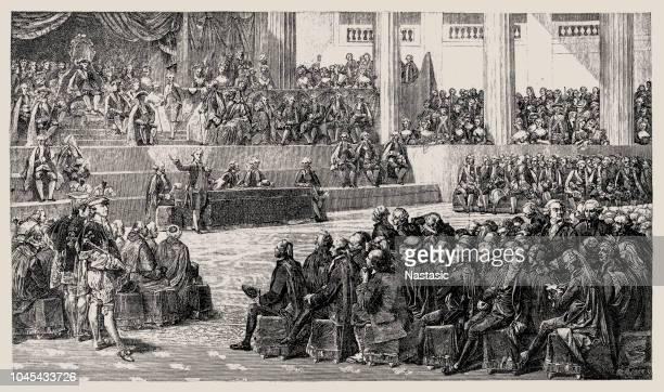 illustrations, cliparts, dessins animés et icônes de la révolution français - les états généraux ou états généraux de 1789 était la première réunion depuis 1614 des états généraux français, une assemblée générale représentant les actifs français du royaume - louis 16