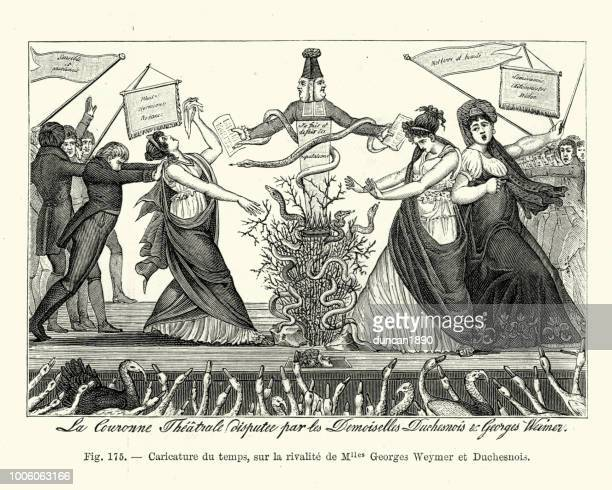 french satirical cartoon rivalry between marguerite georges and the duchess - actor stock illustrations