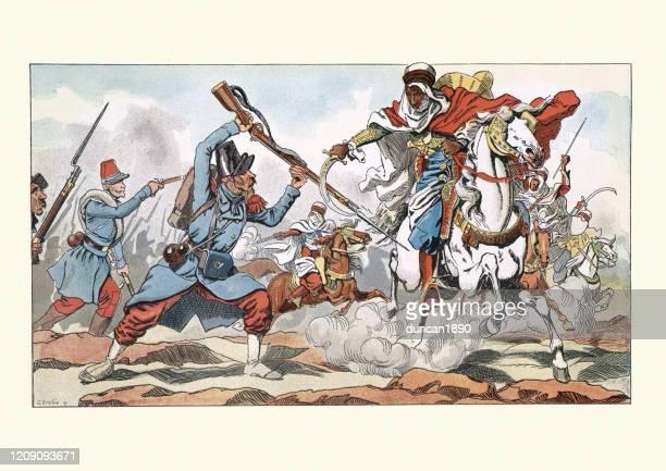 illustrations, cliparts, dessins animés et icônes de français soldats combattant des guerriers arabes dans le désert, 19ème siècle - algeria archive