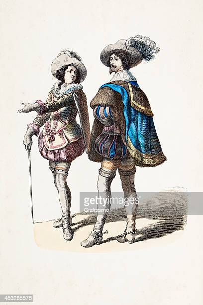 french soldiers of cavalry traditional clothing 17th century - 17th century stock illustrations, clip art, cartoons, & icons