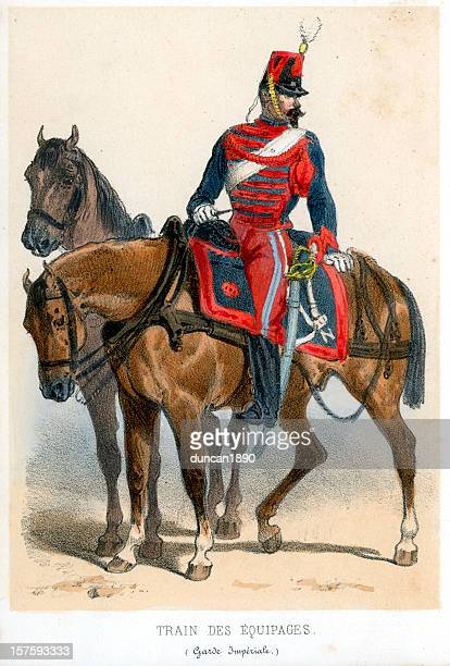 french soldiers of the 19th century - cavalier cavalry stock illustrations, clip art, cartoons, & icons