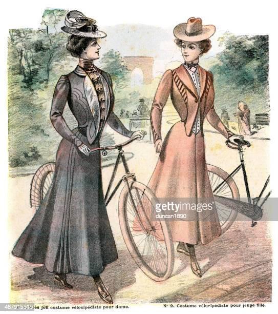 illustrations, cliparts, dessins animés et icônes de french mode femme des années 1900 - edwardian fashion