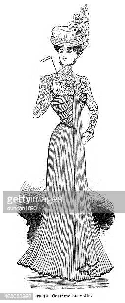 french womens fashion 1900 - en búsqueda stock illustrations
