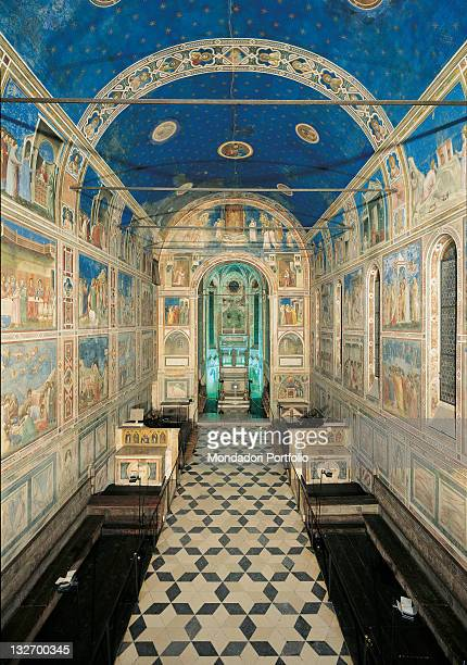 Italy, Veneto, Padua, Scrovegni Chapel. View of the chapel interior towards the altar. Barrel vaulted chapel, fresco cycle.