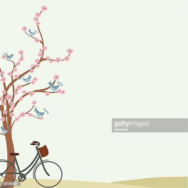 illustrations, cliparts, dessins animés et icônes de air de vélo - cerisier japonais