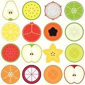 Fresh, Cute Vegetable, fruit cut in half (vector Icons) Set#4