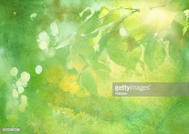 fresh foliage, spring watercolor background - lush foliage stock illustrations