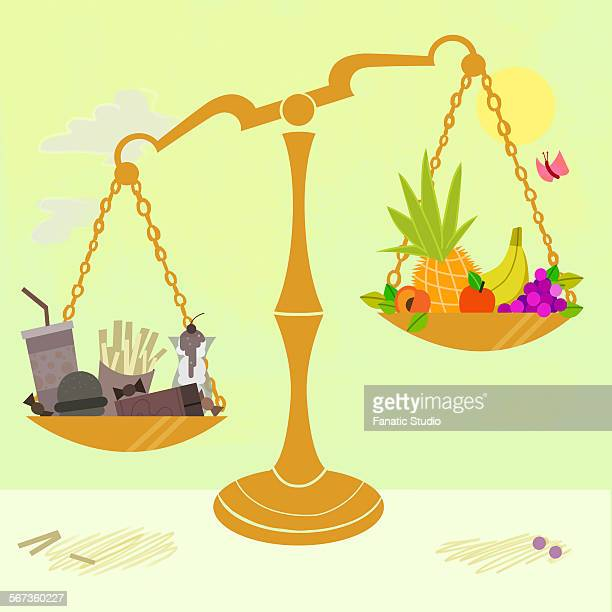 fresh fruits and junk food on opposite ends of weighing scales - unhealthy living stock illustrations, clip art, cartoons, & icons