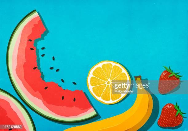 fresh, juicy fruits on blue background - food stock illustrations