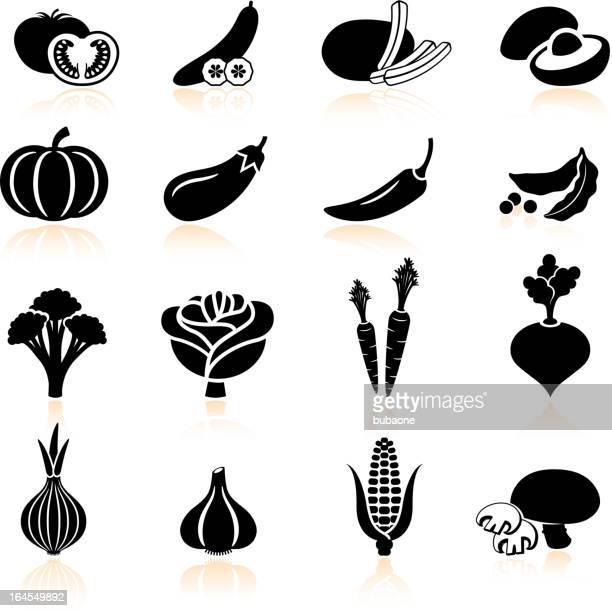fresh produce and vegetables black & white icon set - broccoli stock illustrations, clip art, cartoons, & icons