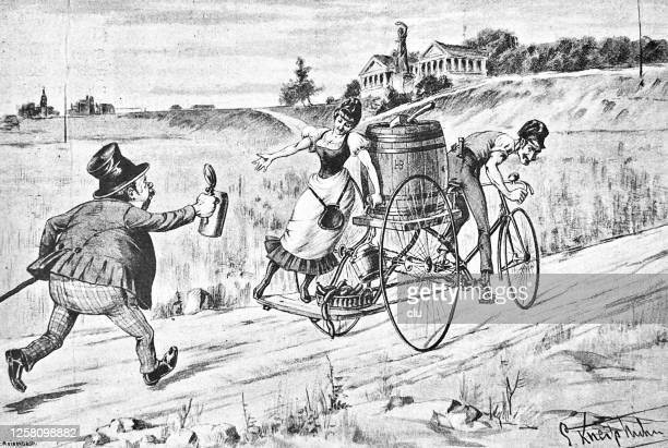 freshly tapped beer on the beer cart bike, man running for it, munich, theresienwiese - theresienwiese stock illustrations