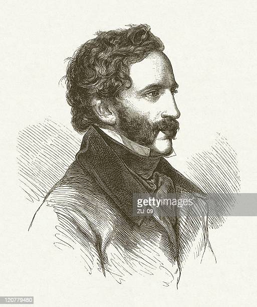 friedrich gauermann (1807-1862, austrian painter), wood engraving, published in 1854 - fine art portrait stock illustrations