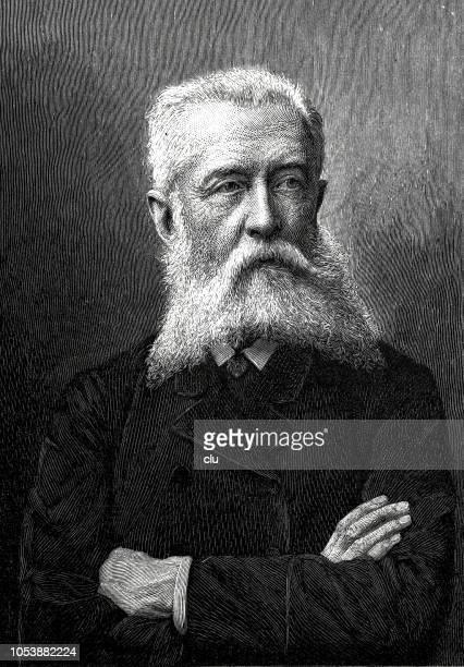 stockillustraties, clipart, cartoons en iconen met friedrich von esmarch, duitse chirurg en oprichter van het civiel samaritaan systeem in duitsland, 1823-1908 - oprichter