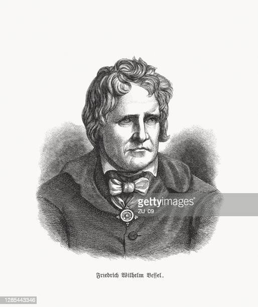friedrich wilhelm bessel (1784-1846), german astronomer, wood engraving, published 1893 - mathematician stock illustrations