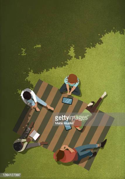 friends social distancing with book and digital tablets in park - outdoors stock illustrations
