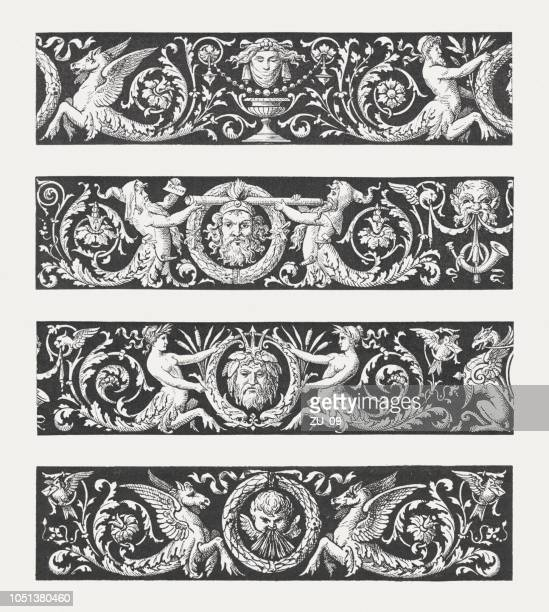 Frieze samples with grotesques, wood engravings, published in 1885