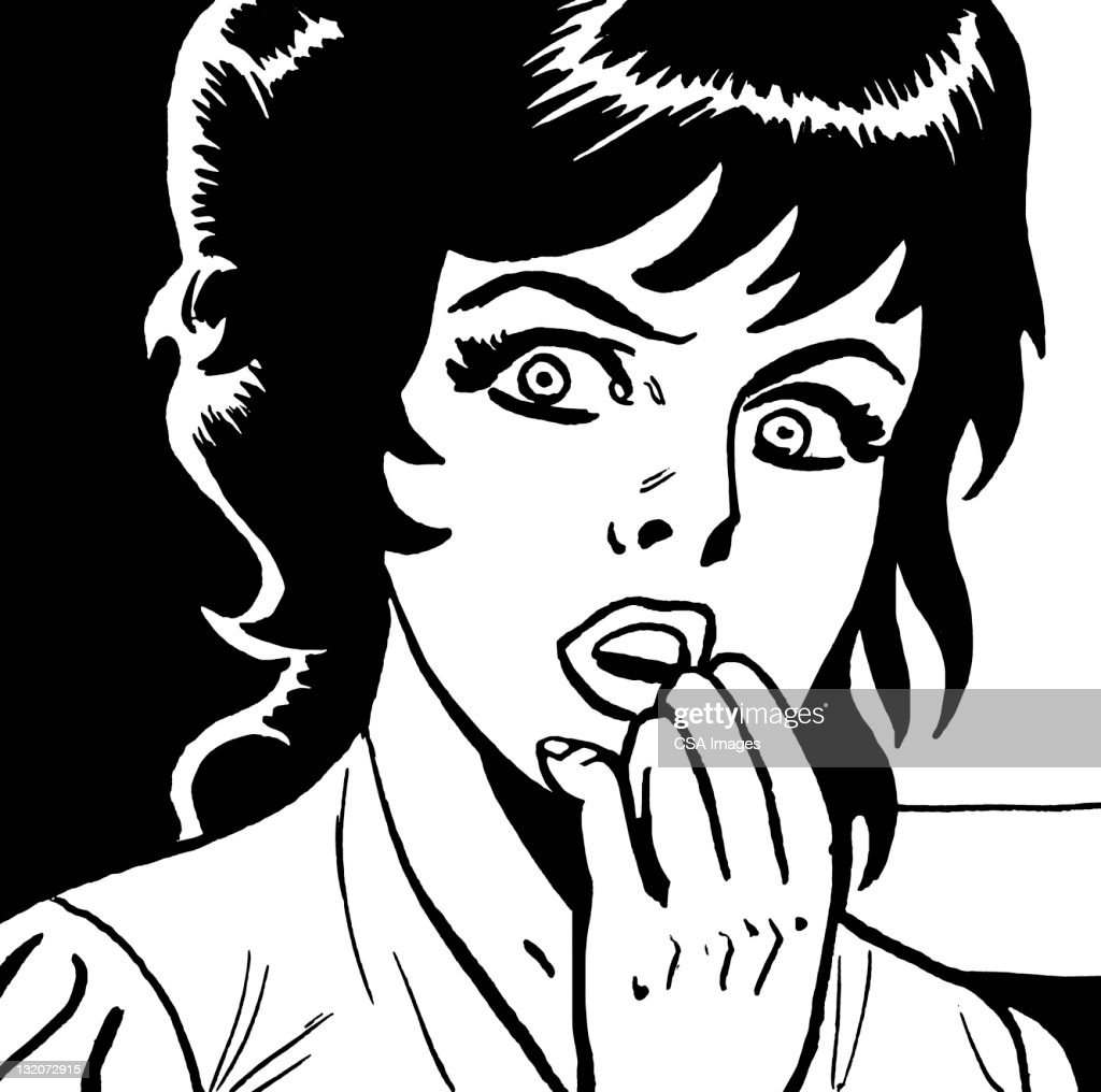 Frightened Dark Haired Woman With Hand to Mouth : stock illustration