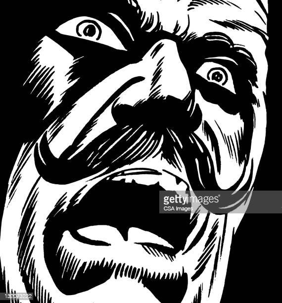 Frightened Mustache Man Screaming