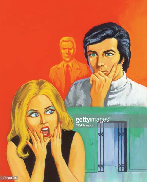 frightened woman and two men - obsessive stock illustrations, clip art, cartoons, & icons