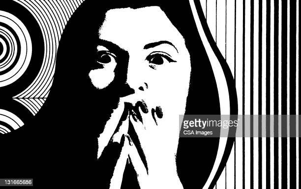 frightened woman - staring stock illustrations