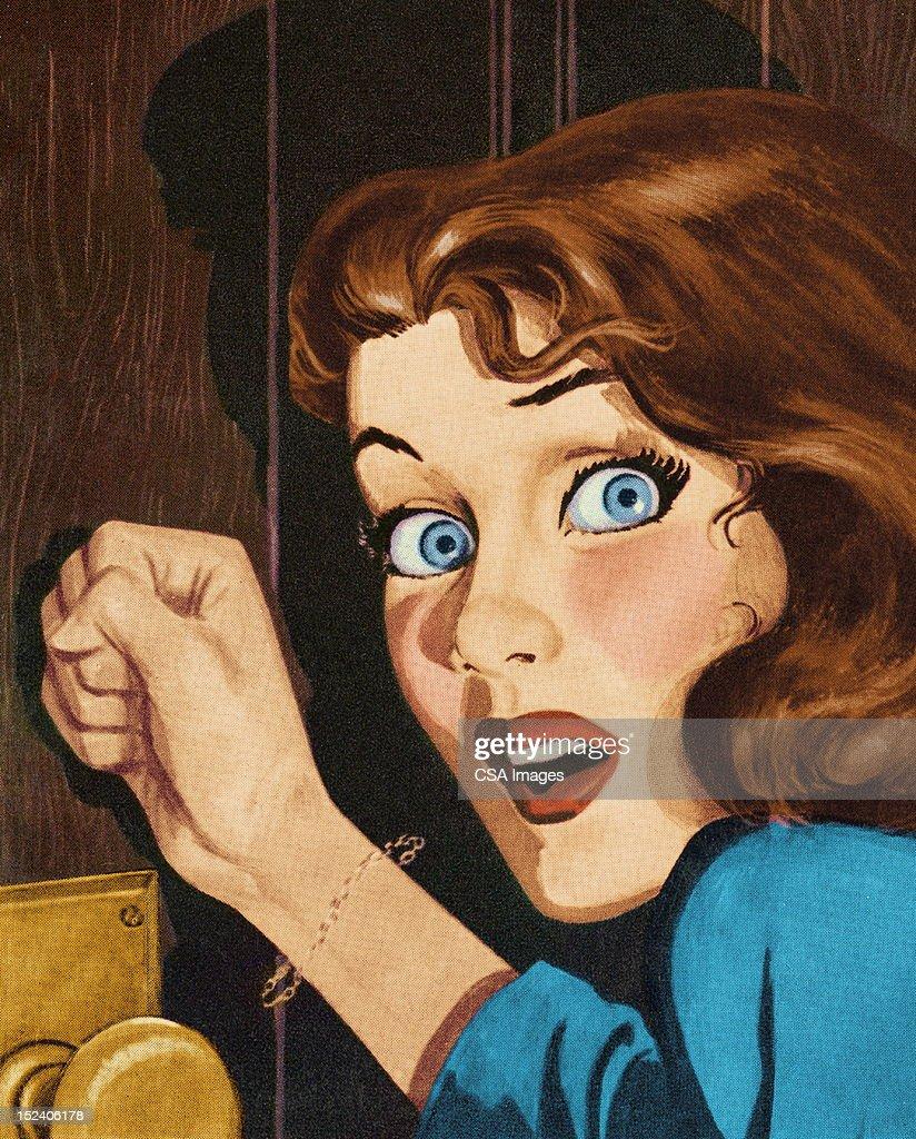 Frightened Woman Knocking on Door : stock illustration