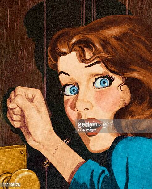 Frightened Woman Knocking on Door