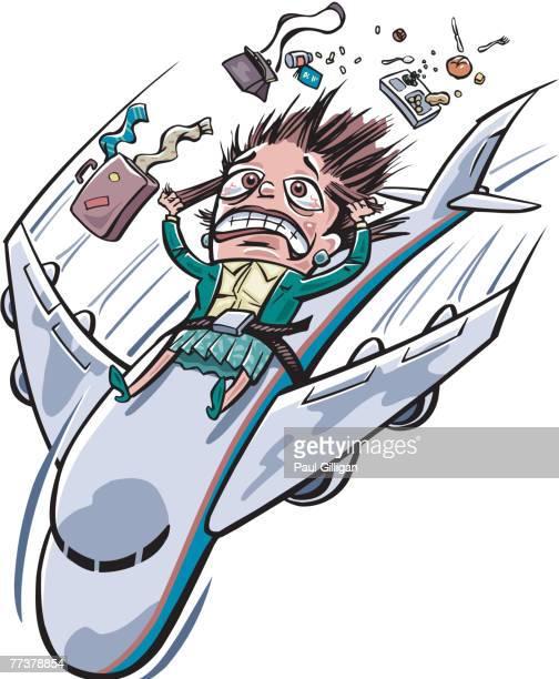 ilustraciones, imágenes clip art, dibujos animados e iconos de stock de a frightened woman strapped onto a plane - tirarse de los pelos