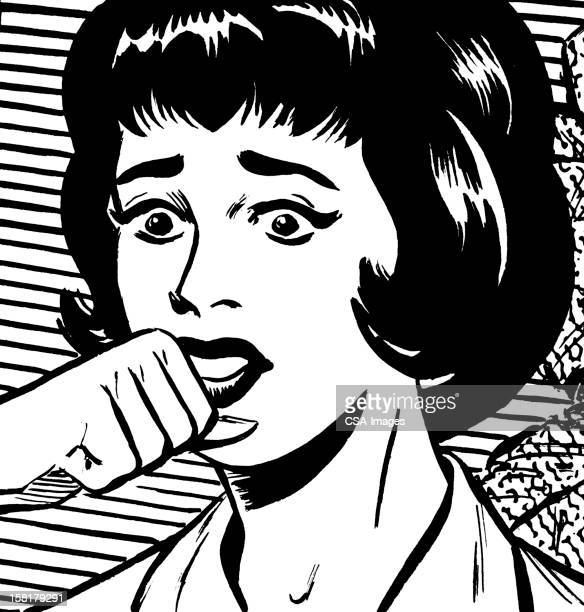 frightened woman with fist raised - gasping stock illustrations, clip art, cartoons, & icons