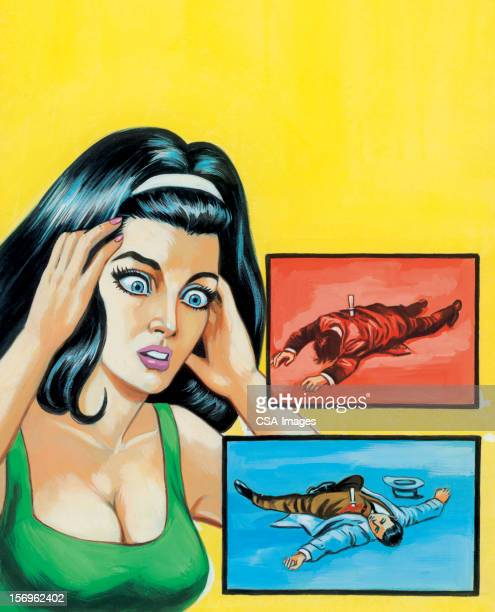frightened woman with two dead people - murder stock illustrations, clip art, cartoons, & icons