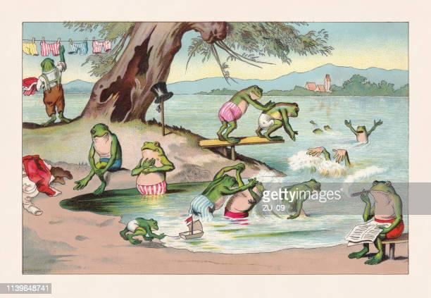 frog bath, nostalgic animal caricature, chromolithograph, published in 1888 - lakeshore stock illustrations