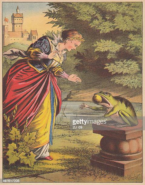 stockillustraties, clipart, cartoons en iconen met frog king (german: froschkönig), fairy tale, lithograph, published 1875 - prinses