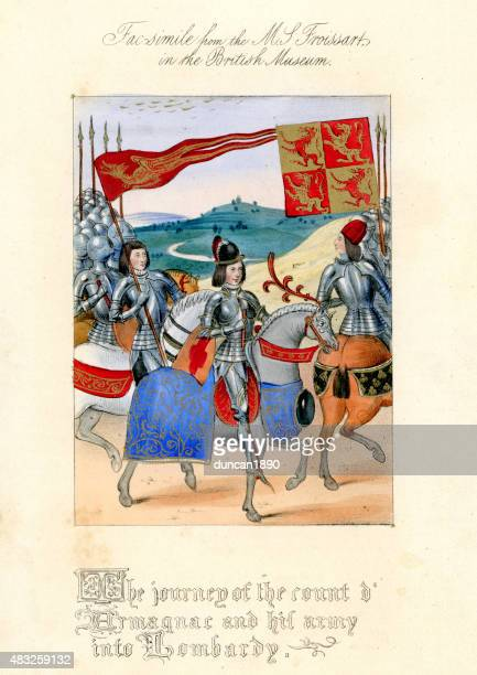 froissart's chronicles - count d'armagnac and his army in lombar - circa 14th century stock illustrations, clip art, cartoons, & icons