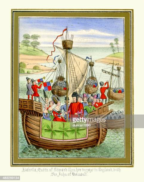 froissart's chronicles - isabella of france voyage to england - circa 14th century stock illustrations, clip art, cartoons, & icons
